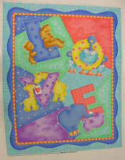 """""""LOVE"""" BABY ANIMALS QUILT WALLHANGING COTTON FABRIC PANEL BY CATHY HECK"""