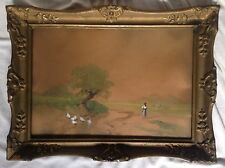 Antique Hungarian Guache Aquarell Painting Landscape Neogrady 1861-1942 Signed
