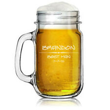 Custom Engraved Personalized Mason Jar Glass Mug w/ Handle Wedding Party