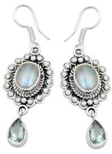 Rainbow Moon Ston Blue Topaz Earrings Solid 925 Sterling Silver Jewelry IE20903