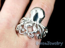 SOLID 925 Sterling Silver OCTOPUS Ring diver jewellery Size Adjustable 7.5-10