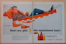 1959 two page magazine ad for Beer - man in hammock - Always Buy Bottled Beer