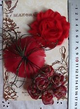 RED Feather Facinator & GOLD Organza ROSES 8 FlowerPk - appr 25-80mm Manor House
