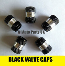BLACK & CHROME VALVE TYRE DUST WHEEL CAPS VOLKSWAGEN VW TOUAREG 4X4