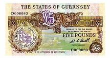 Guernsey ... P-49b ... 5 Pounds ... ND(1980-89) ... *UNC* 2 Digits Serial #