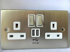 USB Chrome Double Socket 2.4A Electric Wall Plug Outlets Steel Faceplate 240v UK