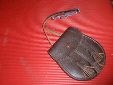 SMALL BROWN LEATHER BAG/PURSE WITH TASSLES MADE BY ROBERTS OF TRONGATE TOTAL LEN
