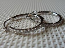 QVC Diamonique cz Sterling Platinum clad Classic Style Hoop Earrings