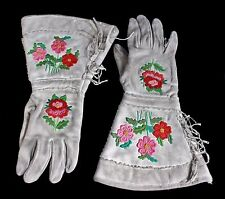 Native American Northern Plains Indian Needlework Gauntlets Gloves 1800's
