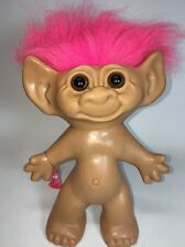 "VTG Troll Doll BIG 9"" Brown Eyes & Pink Hair + BONUS Ring uNeedADollCo"