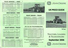 John Deere tracteur, chargeuses & telehanders liste de prix, datée de septembre 2006-BX202