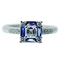 Vintage VS1-G Asscher Diamonds French Sapphire Platinum Ring Estate Jewelry