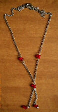 Vintage Silver Tone Drop Necklace with Red Stones