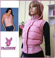 NWT PLAYBOY BUNNY LIGHT PINK jacket vest HOODIE HOOD ZIPPER WARM PLUSH PUFF   XS