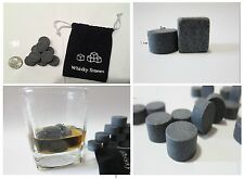 9X Round Whiskey Whisky Scotch Soapstone Glacier Stone Ice Cubes Rocks w/ Bag