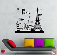 Wall Stickers Vinyl Decal Paris Eiffel Tower France Vacation Summer  (z2092)