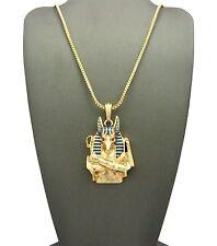 """MEN GOD OF ANCIENT EGYPT ANUBIS JACKAL PENDANT w/24"""" BOX CHAIN NECKLACE SET DD15"""