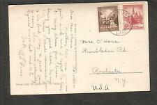 1938 Mission St Augustin post card Breslau stamps Siegburg to Rochester NY