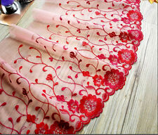 "1 Yard Lace Trim Red Tulle Exquisite Embroidery Floral Wedding Bride 11.4"" wide"