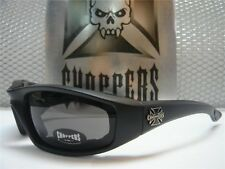 MOTORCYCLE BIKER RIDING CHOPPERS SUN GLASSES PADDED FOAM GOGGLES DARK BLACK LENS