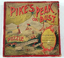 1895 Pike's Peak or Bust - Parker Brothers Antique Puzzle Skill Game - Rare Find