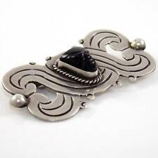 Vintage Mexico Sterling Silver Carved Black Onyx Swirl Scroll Pin Brooch