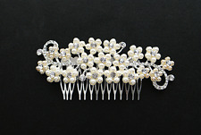 Stunning Silver Decorative Flower Crystal Rhinestone Hair Comb Pin Bridal Wed