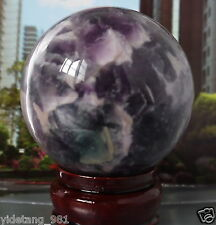 80mm purple Glow In The Dark Stone crystal Fluorite sphere ball