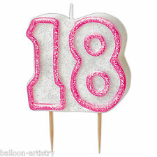 """3.5"""" PINK Glitz 18th Birthday Party Glitter Moulded Cake Candle"""