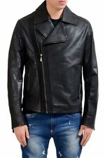 Versace Jeans Men's 100% Leather Black Double Breasted Jacket US XL IT 54