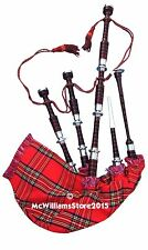 McWilliams PROFESSIONAL SCOTTISH ROSEWOOD BAGPIPE FNS RS TARTEN CHANTER HARD BOX