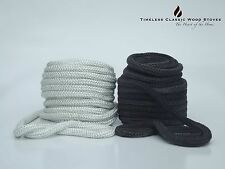 9mm Wood fire combustion Stove/ Heater door rope seal, gasket- Fiberglass WHITE