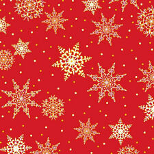 Quilting Treasures Fabric JOLLY OLD ST NICK Snowflakes on Red- yards