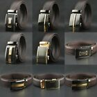 New Mens Brown Automatic Buckle Genuine Real Leather Waistband Ratchet Belts