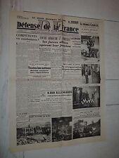 FAC-SIMILE A LA UNE JOURNAL DEFENSE DE LA FRANCE 25/09 1944 ARNHEM MARKET GARDEN