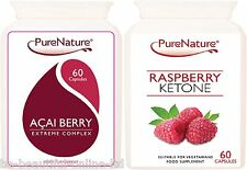 60 Raspberry Ketones 2000mg 60 Acai Berry Extreme Diet Fat Burner Slimming pills