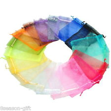 100PCs 10x15cm Mixed Colors Organza Jewelry Gift Present X-mas Pouch Bags
