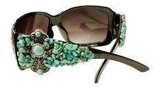 SHOWMAN COUTURE TURQUOISE CROSS BLACK WESTERN SUNGLASSES + CASE CLOTH 1
