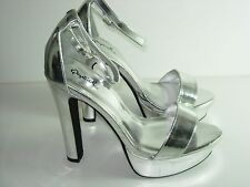 WOMENS SILVER PLATFORM ANKLE STRAP SANDALS WEDDING EVENING HEELS SHOES SIZE 7 M