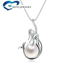 """925 Sterling Silver Freshwater Pearl Mermaid Pendant 18"""" Chain Necklace Box Xmas"""