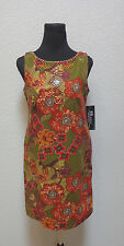 RB Collection Womens Linen Blend Summer Dress Floral Beaded Beautiful Size 6 NWT