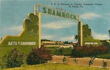 Florida, FL, Ft Pierce, Entrance to Popular Shamrock Village Linen Postcard