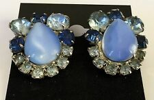 50's VINTAGE SILVER BLUE SHADES CATS EYE MOON GLOW GLASS STONE CLIP ON EARRINGS