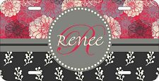 MONOGRAMMED LICENSE PLATE NOVELTY CUSTOM CAR TAG RED GRAY TAN FLOWERS