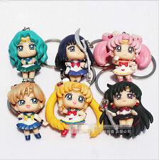 6pcs / set Sailor Moon Chibi Moon 4.5cm PVC Keychain Collection