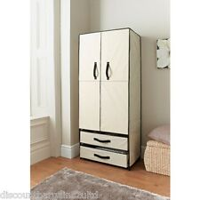 New Deluxe Double Canvas Wardrobe With Opening Doors Cream