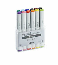 COPIC SKETCH PENS - 12 BASIC COLOURS SET - GRAPHIC ART MARKERS