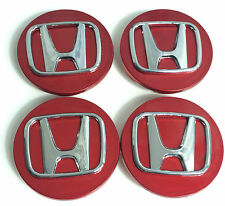 4x HONDA 70mm ALLOY WHEEL BADGES CENTER HUB CAPS Red Chrome ACCORD CIVIC CV-R