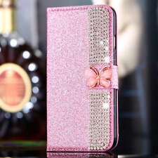 Luxury Diamond Glitter Flip Stand Wallet Card Case Cover For iPhone Samsung