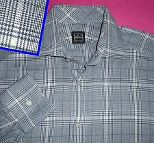 M IKE BEHAR BLUE WHITE GLEN PLAID LONG SLEEVE MENS SHIRT